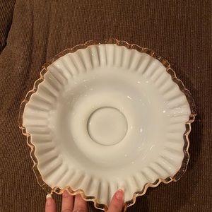 Pink silver crest Fenton bowl